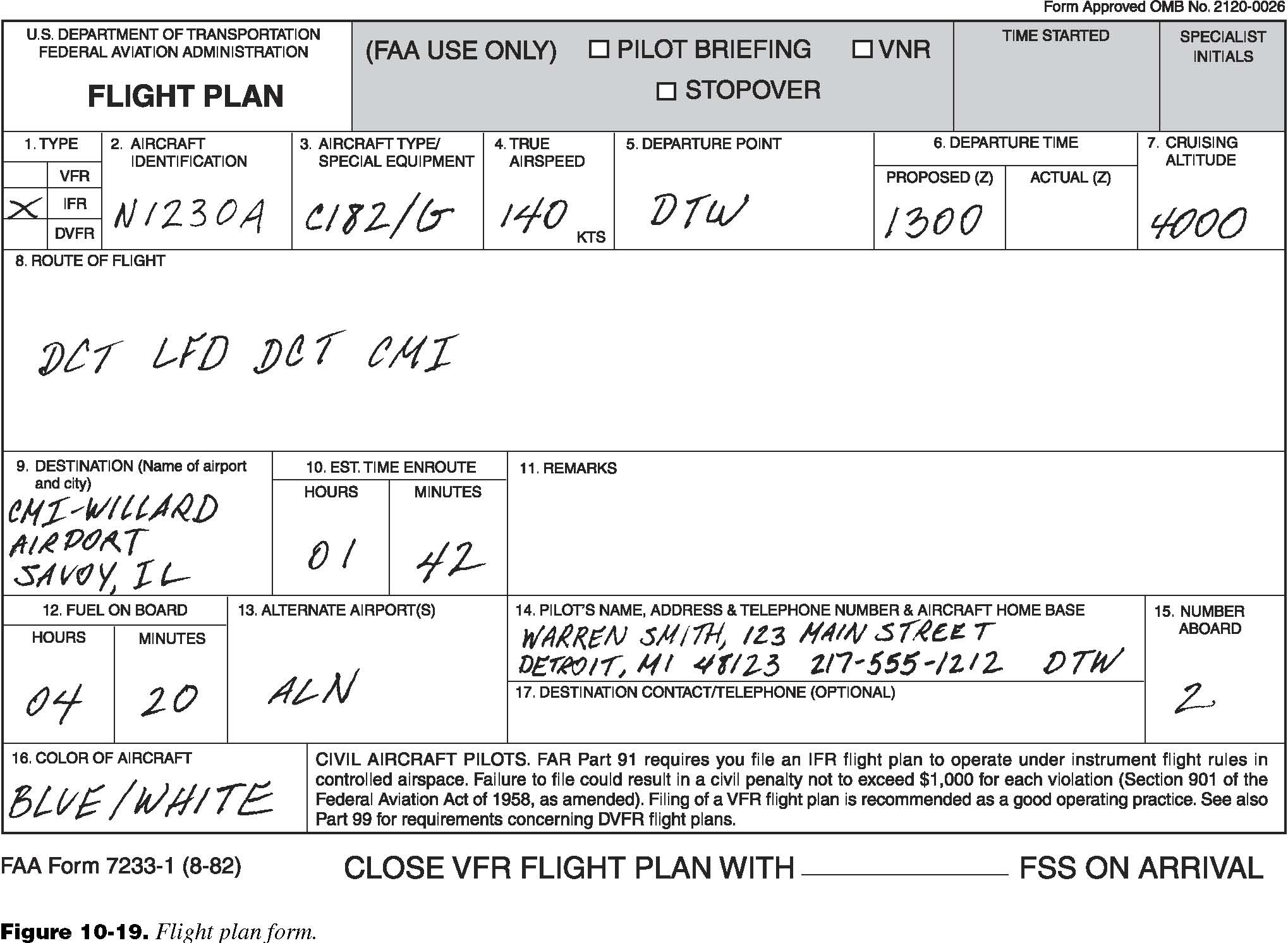 Instrument Flying Handbook Chapter 10 American Flyers – Flight Plan Template